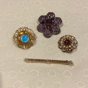 VTG Small Silver Gold Brooch Pins – 4 LOT